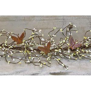 Green & White Pip Berries with Rustic Butterfly Ac